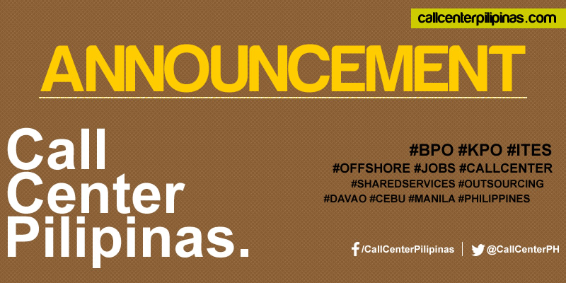 call center pilipinas announcement
